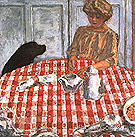 The Red Checkered Tablecloth The Dogs Lunch 1910 - Pierre Bonnard