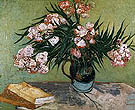 One eared vase with oleanders and books - Vincent van Gogh
