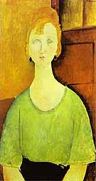 Girl in Green Blouse 1917 - Amedeo Modigliani
