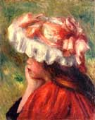 Head of a Young Woman Red Hat - Pierre Auguste Renoir