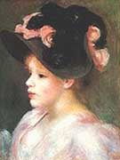 Young Girl with Black and Pink Hat - Pierre Auguste Renoir
