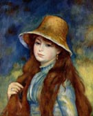 Girl with a Staw Hat 1884 - Pierre Auguste Renoir