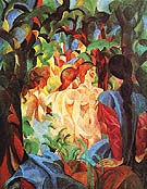 Girls Bathing with Town in Background 1913 - August Macke