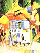 Courtyard of a Villa at St Garmain 1914 - August Macke