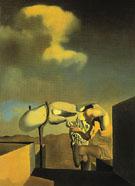 Average Atmospherocephalic Bureaucrat in the Act of Milking a Cranial Harp 1933 - Salvador Dali