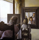 Dali from behind Painting Gala from behind who is Perpetuated in Six Virtual Corneas which are Reflected in Six Real Mirrors 1972 - Salvador Dali