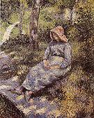 Peasant Seated at Dusk 1880 - Camille Pissarro