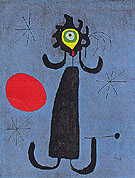 Painting Woman in Front of the Sun 1950 - Joan Miro