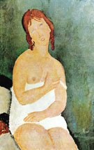 Red Haired Young Woman in Chemise 1918 - Amedeo Modigliani