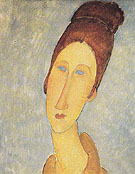 Yellow Sweater Portrait of Mademoiselle Hebuterne c1919 - Amedeo Modigliani