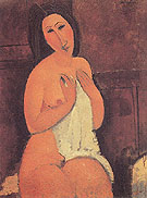 Seated Nude with Shirt in Her Hands 1917 - Amedeo Modigliani