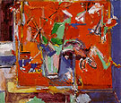 Red Table and Vase of Flowers 1942 - Hans Hofmann