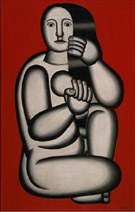 Nude on a Red Background Seated Woman 1927 - Fernand Leger