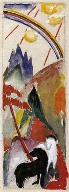 Black Horse and White Horse in a Mountain Landscape with a Rainbow 1911 - Franz Marc