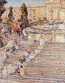 The Spanish Stairs Rome 1897 - Childe Hassam