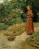 Woman Cutting Roses in a Garden 1888 - Childe Hassam