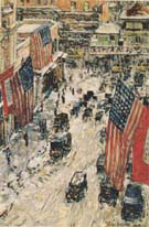 Flags on 57th Street Winter 1918 - Childe Hassam