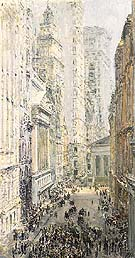 Lower Manhattan View Down Broad Street - Childe Hassam