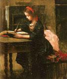 Fillette a Letude en Train Decire - Jean Baptiste Corot