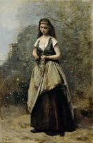 Young Woman Weaving a Wreath of Flowers - Jean Baptiste Corot