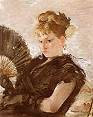 Woman with Fan Head of a Girl 1876 - Berthe Morisot