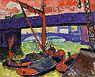 Barges on the Thames Cannon Street Bridge 1906 - Andre Derain