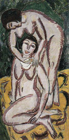 Two Female Nudes on a Vertical Format 1911 - Ernst Ludwig Kirchner