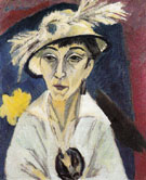 Sick Woman Woman with Hat 1913 - Ernst Ludwig Kirchner