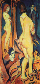 Nude Viewed from the Back with Mirror and Man 1912 - Ernst Ludwig Kirchner