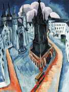 The Red Tower in Halle 1915 - Ernst Ludwig Kirchner
