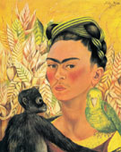 Self Portrait with Monkey and Parrot 1942 - Frida Kahlo