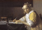 A Lady Writing Detail c1665 - Jan Vermeer