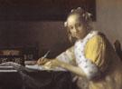A Lady Writing Detail c1665 - Jan Vermeer