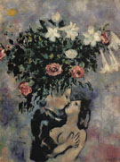 Lovers under Lilies c1922 - Marc Chagall