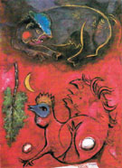 Listening to the Cock 1944 - Marc Chagall