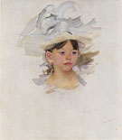 Sketch of Ellen Mary Cassatt in a Big Blue Hat 1905 - Mary Cassatt