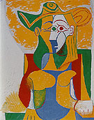 Seated Woman in Yellow and Green Hat 1962 - Pablo Picasso