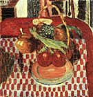 Basket and Plate of Fruit on a Redcheckered Tablecloth 1938 - Pierre Bonnard