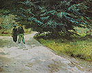 Park with a Couple and a Blue Fir Tree 1888 - Vincent van Gogh