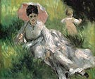 Woman with a Parasol and Child on a Sunlit Hillside c1874 - Pierre Auguste Renoir