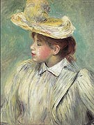 Girl with Straw Hat c1890 - Pierre Auguste Renoir