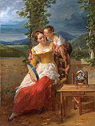 A Mother and Child with a Tambourine and Puppet c1784 - Antoinette Cecile Hortense Haudebourt Lescot