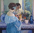 Girl in Blue Arranging Flowers 1915 - Carl Frieseke