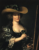 Portrait of the Artist Wearing a Beribboned Hat - Adelaide Labitte Guiard