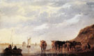 Herdsman with Five Cows by a River Large 1655 - Aelbert Cuyp