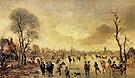 Winter Landscape with Ice Skaters 1650 - Aert va der Neer