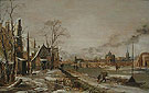 A Village Scene in Winter with a Frozen Rive 1640 - Aert va der Neer