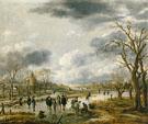 Scene on the Ice Outside the Town Walls 1655 - Aert va der Neer