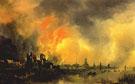 Burning Castle Before a City c1650 - Aert va der Neer
