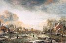 A Frozen River by a Town at Evening 1665 - Aert va der Neer